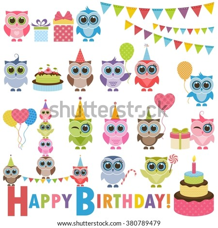 Birthday party set with owls - stock vector