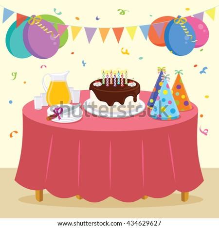 Birthday Party Vector Illustration Kid Birthday Stock Vector
