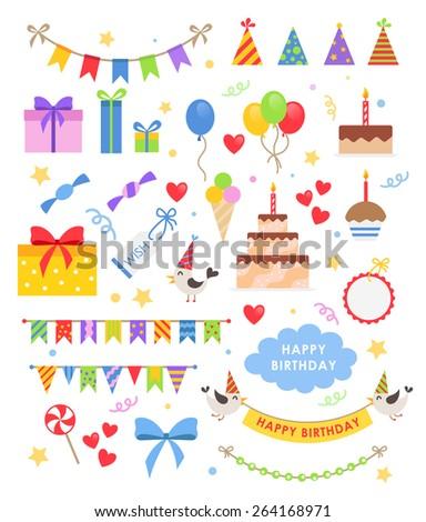 Birthday party vector set - stock vector