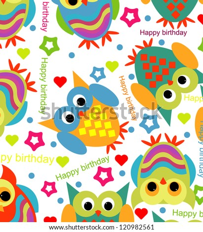 birthday pattern with owls - stock vector
