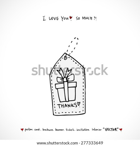 birthday present / Hand drawn illustrations - vector - stock vector