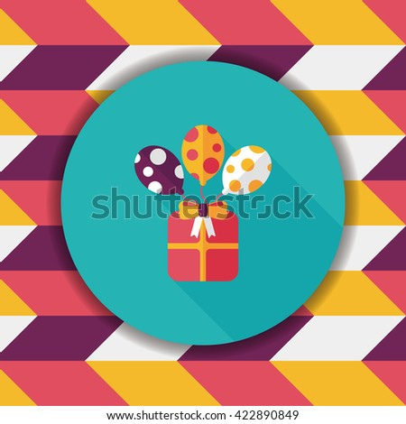 birthday presents flat icon with long shadow,eps10 - stock vector