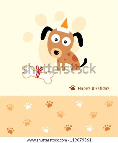 birthday puppy - stock vector
