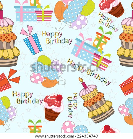 Birthday Seamless Pattern. vector