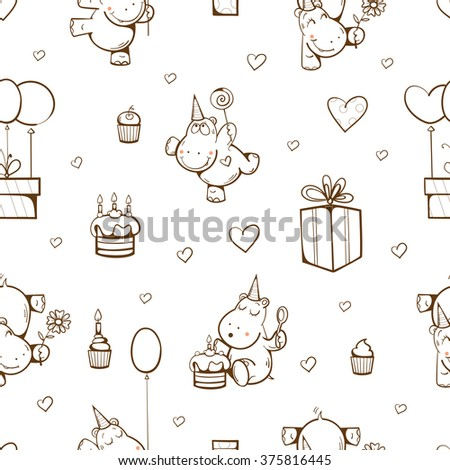 Birthday seamless pattern with cute cartoon  hippos, gifts, cakes, balloons and sweets on white background. Vector image. - stock vector