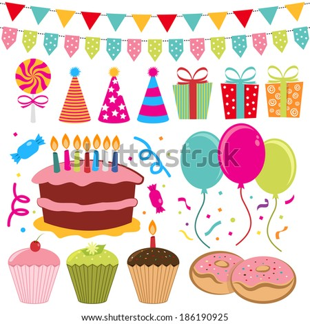 Birthday Set - stock vector