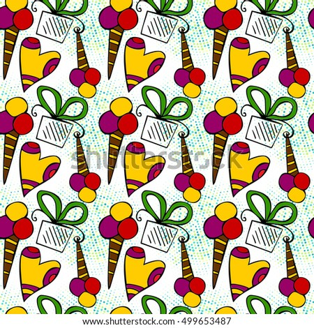 birthday themed doodle seamless pattern gift wrapping paper design