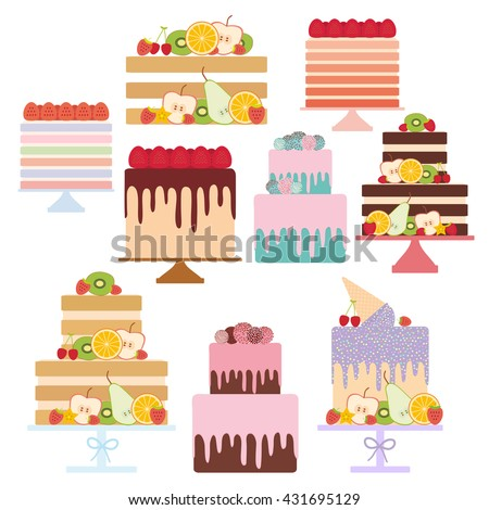 Birthday, valentine's day, wedding, engagement. Set sweet cake, Cake Stand, decorated with fresh fruits and berries, chocolate icing sprinkles, cake pops, pastel colors on white background. Vector - stock vector