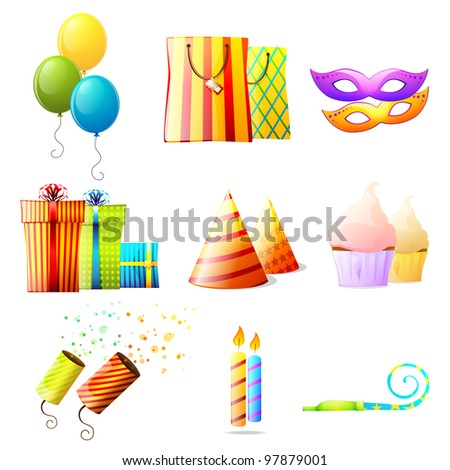 Birthday vector icons set - stock vector