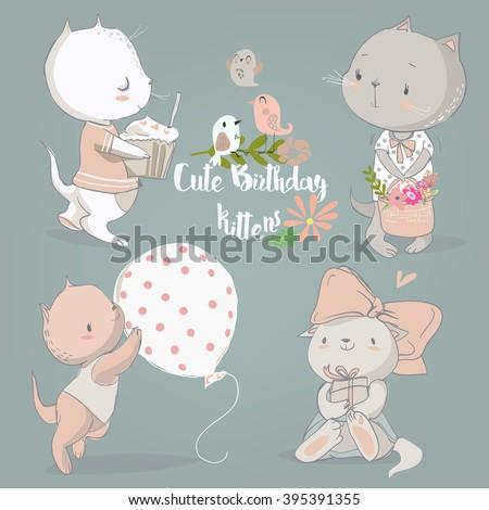 birthday vintage set with cute cartoon kittens - stock vector