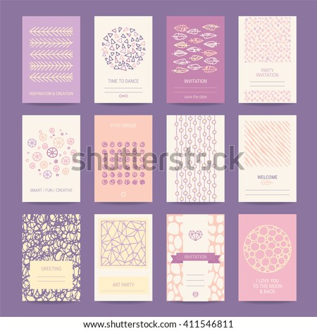 Birthday, wedding, Valentine's day party invitation, greeting card, creative poster, artistic flyer. Hipster templates collection with hand drawn textures, trendy geometric icons, tribal symbols. - stock vector