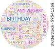 BIRTHDAY. Word collage on white background. Illustration with different association terms. - stock vector
