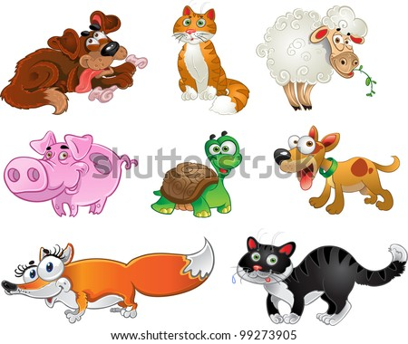 Bis set of funny pig, dogs, cats, sheep, tortoise and fox - stock vector