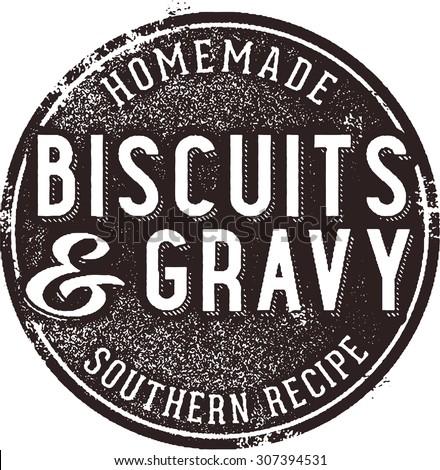 Biscuits and Gravy Vintage Menu Sign - stock vector