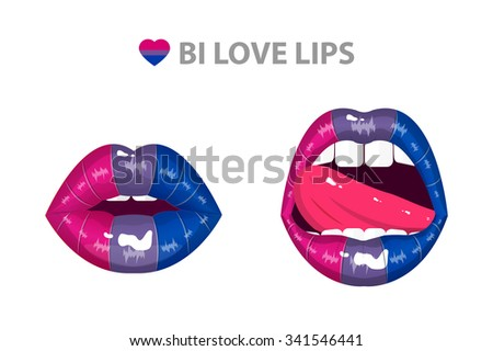 Bisexual love sexy passion lips set, shining lipstick,erotic open mouth, tongue hanging out,  vector illustration - stock vector