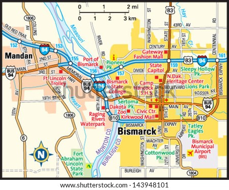 Bismarck North Dakota Area Map Stock Vector HD Royalty Free