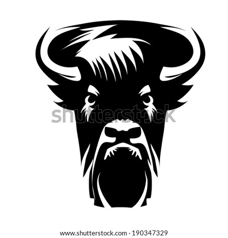 bison front head - black and white vector design - stock vector