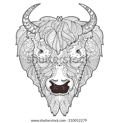 Bison head doodle with black nose on white background. - stock vector