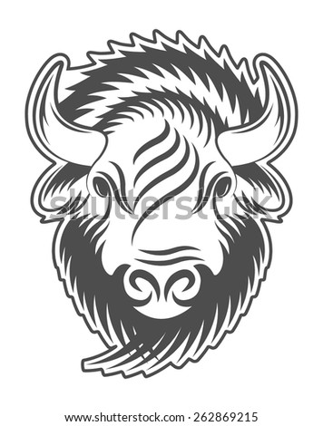 Bison head. Sign, emblem, logo. - stock vector