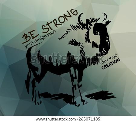 Bison on the polygon background - stock vector