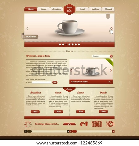 Bistro and cafe website design template - stock vector