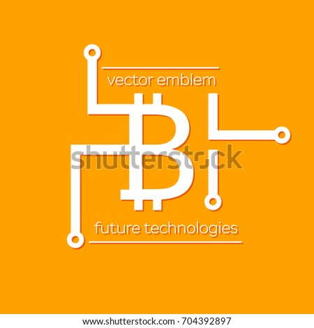 bitcoin blockchain crypto currency symbol vector stock vector 704392897 shutterstock. Black Bedroom Furniture Sets. Home Design Ideas