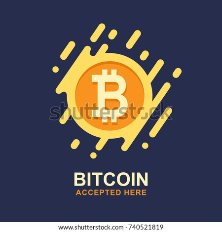Bitcoin Concept Cryptocurrency Logo Sigh Digital Money Block Chain Finance Symbol