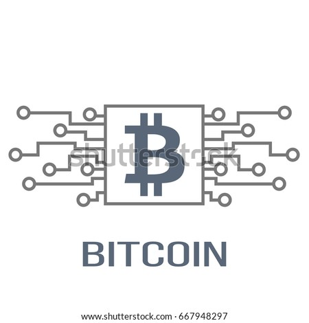 Bitcoin Cripto Currency Blockchain Flat Logo On Motherboard And Computer Design Vector Illustration