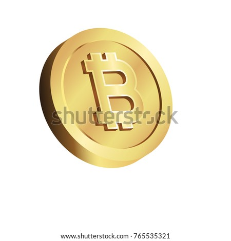 Bitcoin 3d Golden Icon Cryptocurrency Emblem Web And Internet Money Logo Vector