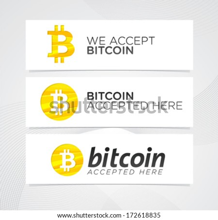Bitcoin digital currency creative vector banners and design elements. Stylish illustrative money icons - stock vector
