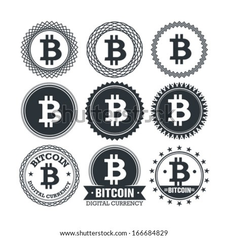 Bitcoin digital currency creative vector design elements. Stylish illustrative money badges and emblems - stock vector