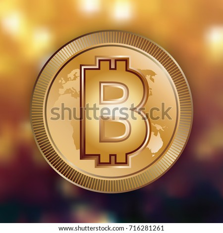 Bitcoin Digital Money Logo On Golden Bokeh Background Exchange Investment Business Sign Electronic Banking