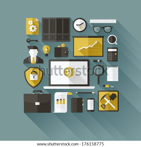 Bitcoin essentials. Modern flat vector design elements - stock vector