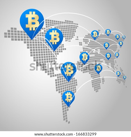 Bitcoin global business concept, Dot World maps with Bitcoin virtual currency - stock vector