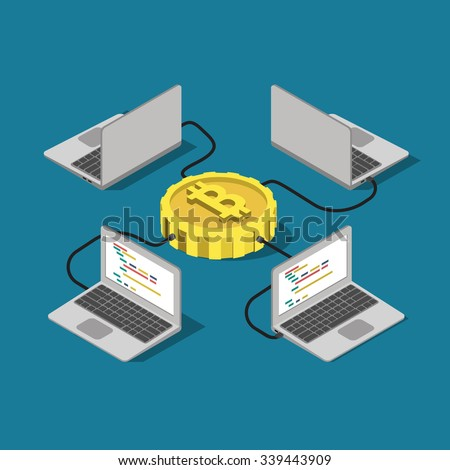 Bitcoin network connection online mining  flat 3d isometry isometric concept web infographics vector illustration. Laptop computer connected to bit coin. Creative people collection. - stock vector