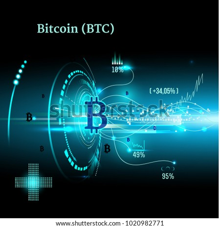 Bitcoin Symbol Price Chart Cryptocurrency Concept Stock Vector 2018