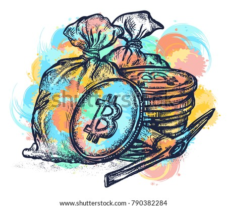 Bitcoin tattoo and t-shirt design water color splashes. Cryptocurrency mining symbol. Golden coins