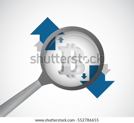 bitcoin under a magnify glass with arrows illustration design graphic over white