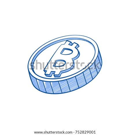 Bitcoins Icon Vector Illustration Hand Drawn Style