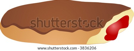 Bitten jam filled chocolate eclair vector isometric illustration