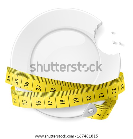 Bitten plate with measuring tape. Diet concept. - stock vector