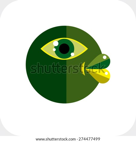 Bizarre creature vector illustration, cubism graphic modern picture. Flat design image of an odd character isolated on white. - stock vector