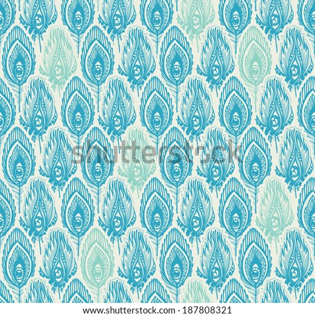 bizarre feather with eyes, blue seamless pattern - stock vector