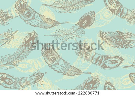 bizarre feathers, bright  seamless background - stock vector
