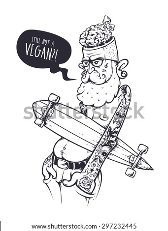 Bizarre hipster character with tattoos and longboard. Crazy graffiti style illustration. Black and white variation. Vector art.  - stock vector