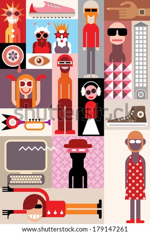 Bizarre people vector illustration.  Art collage of different people portraits. - stock vector