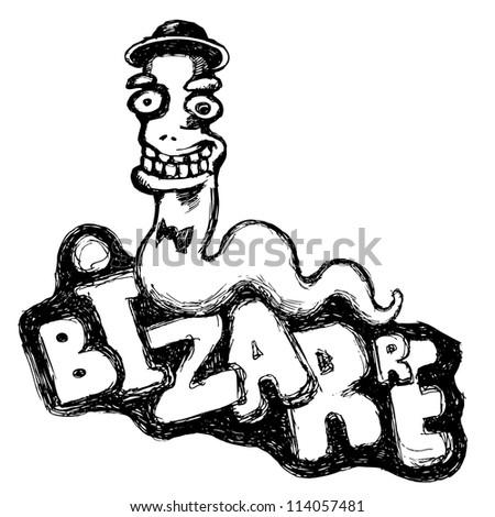bizarre worm. cartoon character. vector background - stock vector