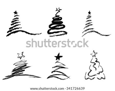 black abstract Christmas tree - stock vector