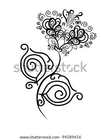 black abstract isolated flower. vector illustration