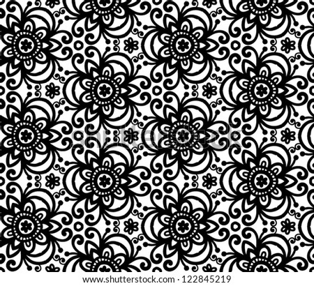 Black abstract lacy curls seamless pattern - stock vector